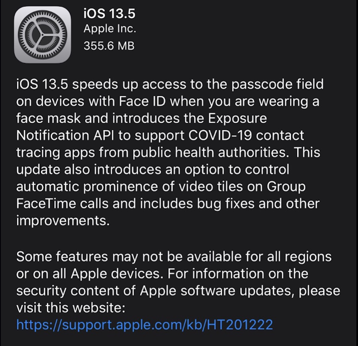 Apple iOS 13.5