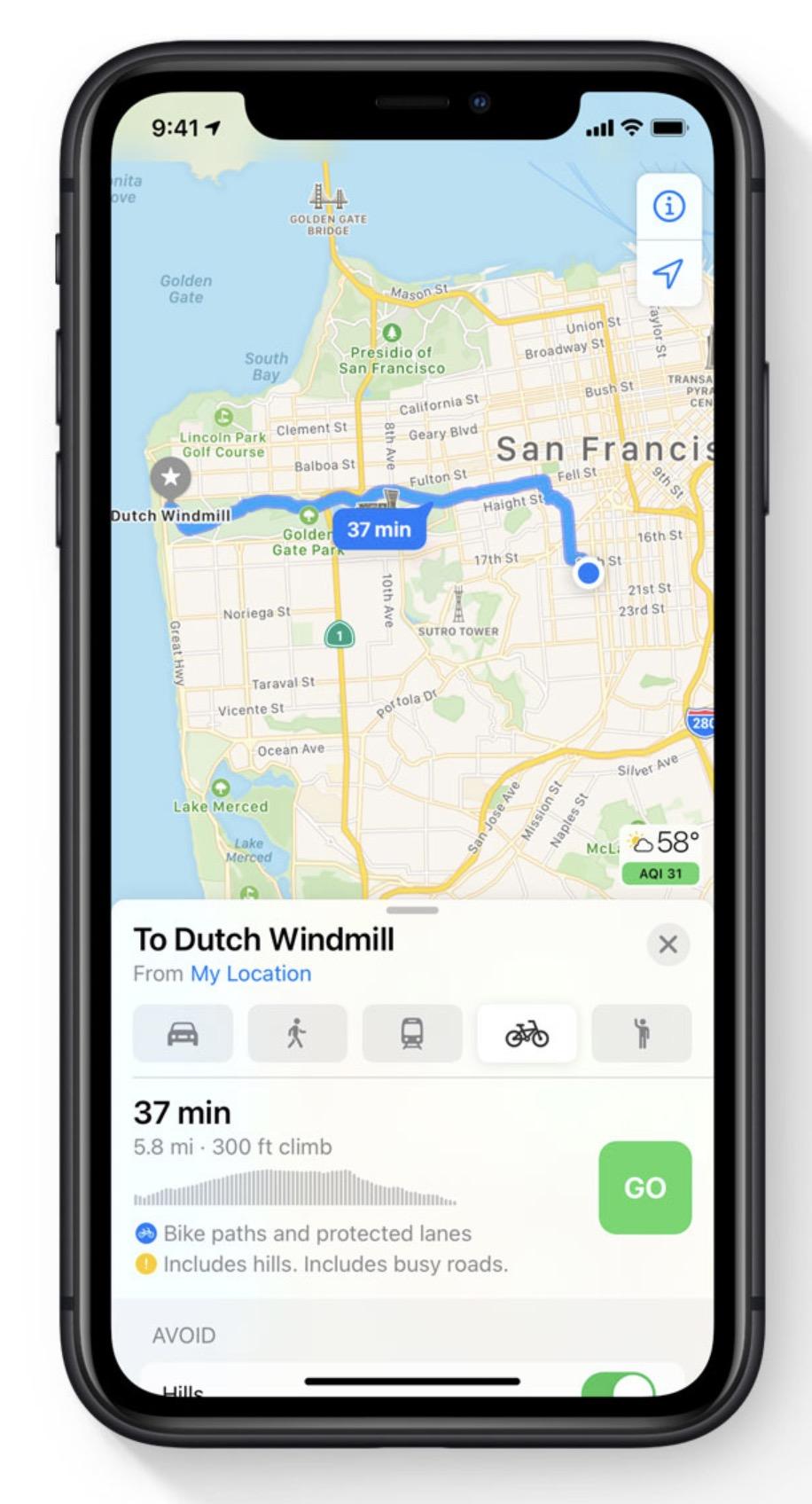 Apple iOS 14 - Maps - Cycling
